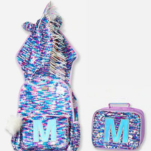 Justice NEW Unicorn Flip Sequin Backpack &Lunchbox